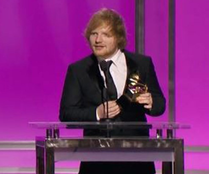 Ed Sheeran wins the Best Pop Solo Performance for *Thinking Out Loud*.