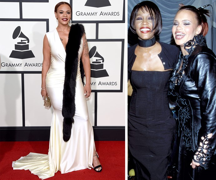 Music legend Faith Evans showed off her famous curves in a fitted white gown. She made her first appearance at the award ceremony back in 1999, pictured with friend and collaborator, the late Whitney Houston.