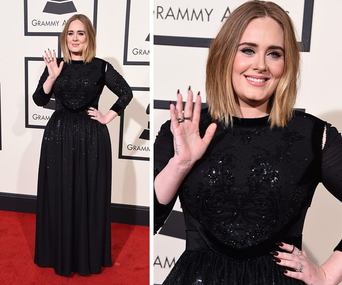 The Queen Adele is in the house! The 27-year-old worked thick, bold Fifties inspired brown, a long bob, natural make-up and a sparkling black gown. In other words, she was flawless!