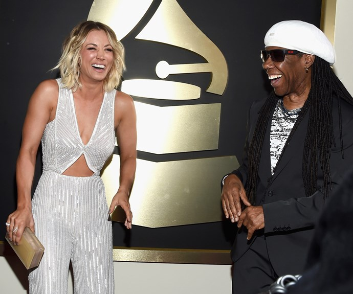 Kaley and Nile Rodgers were all laughs.
