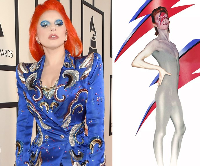 Lady Gaga channels her inner Ziggy Stardust as she gears up for her David Bowie tribute performance.