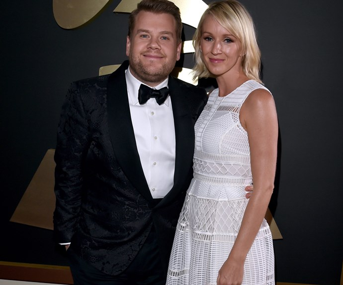 Too cute! Comedian James Corden cuddled up to his wife Julie.