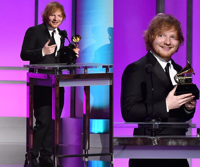 """Congratulations to Ed Sheeran, who has won Song of the Year for his stunning tack *Thinking Out Loud.*  """"Thank you to my parents, who have flown for the past four years to come to the Grammys. And every time I lose they go 'Maybe next year,'"""" he joked in his speech."""