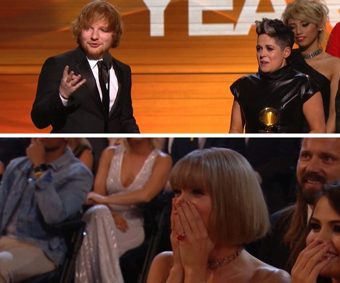 His bestie Taylor Swift, who was also nomiated in the same category for *Blank Space*, couldn't believe it and gave him a huge hug when she found out.