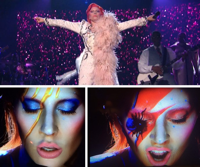 WHAT A TRIBUTE: Lady Gaga honoured [the late David Bowie](http://www.womansday.com.au/celebrity/hollywood-stars/tributes-for-the-late-david-bowie-14454) with the most epic of performances.