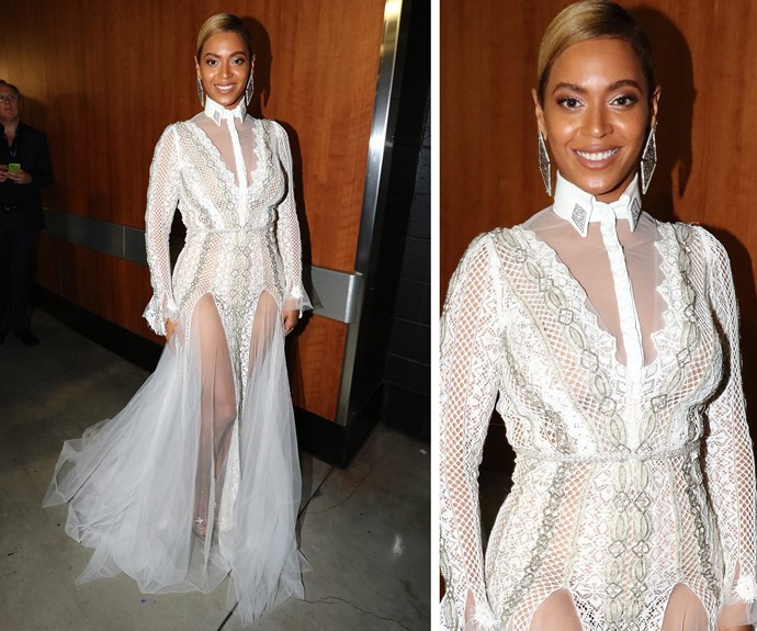 Looking ethereal, Queen Bey was in fab form in a sheer lace dress.