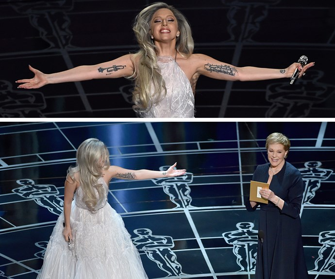 "Lady Gaga's tribute to Julie Andrews and *The Sound of Music* back in 2015, will go down as one of the greatest performances of all time. ""She hit it out of the ballpark. That's a really wonderful thing to do too I think. As they say in Hollywood jargon, 'She rates tall in my book,'"" Julie admitted."