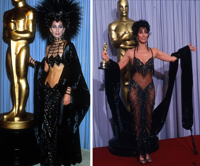 We don't need to turn back time when we have Cher. The singer was slammed for this quirky ensemble in 1987 but a year later, she was still rocking a similar style and this time, with a sparkly gold statue in her hand for *Moonstruck.*
