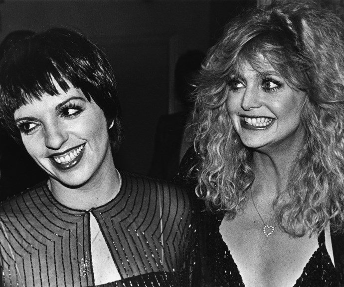 Smile: Goldie and Liza Minnelli strike a pose at the 1979 Oscars.