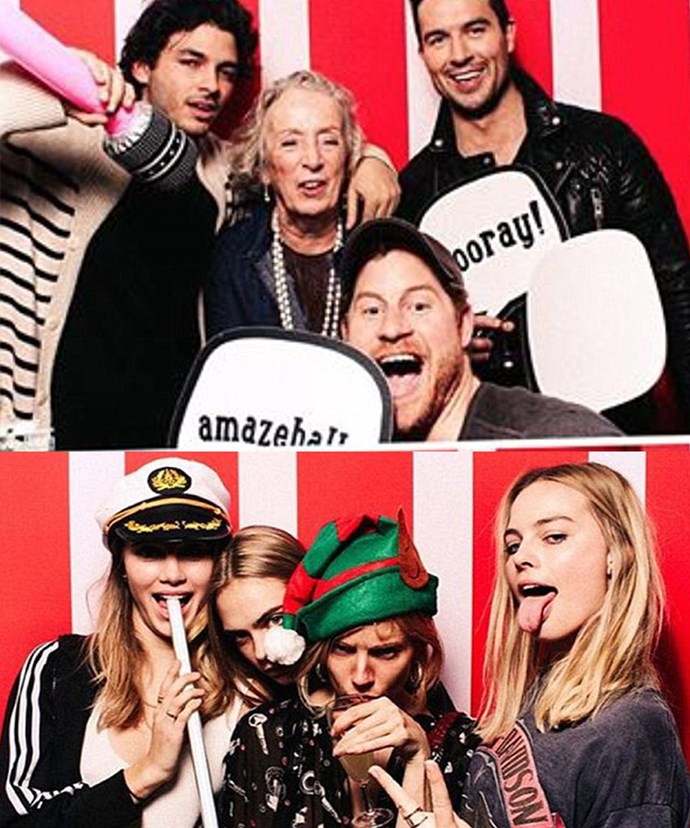 Oh what a night! Can you spot Prince Harry? These were the wild photobooth pics from model Suki Waterhouse's party and it looks like Margot (bottom right) was having a wild time with Suki (bottom left), and model Cara Delevingne (second from left).