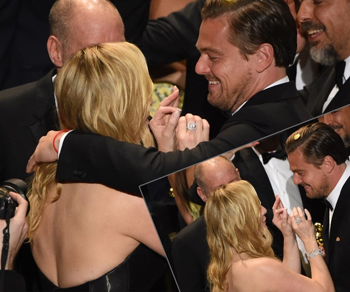And his bestie Kate Winslet couldn't hide her happiness at her *Titanic* pal's monumental win.