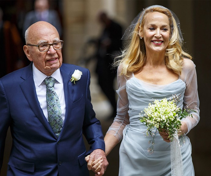**Jerry Hall and Rupert Murdoch** Former supermodel Jerry Hall and media mogul Rupert Murdoch tied the knot in a civil ceremony in March, followed by a private celebration at London's St Bride's Church. Photo: Getty
