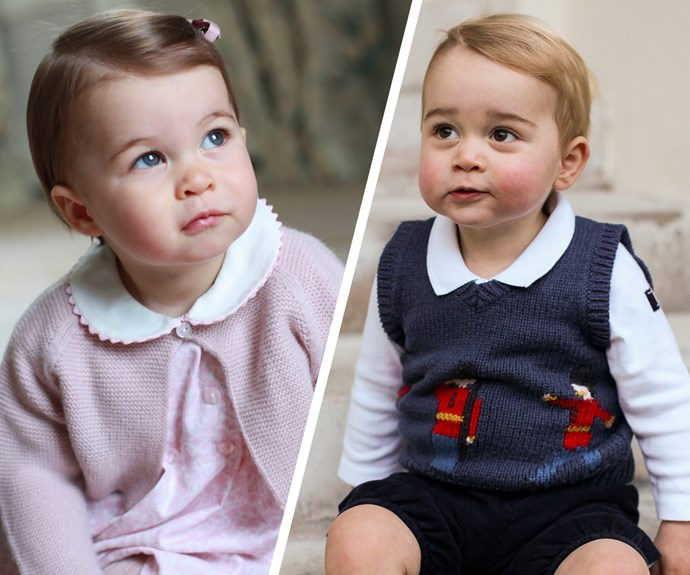 Last year, in celebration of Princess Charlotte's first birthday, Duchess Catherine shared four new snaps of the little royal... At the time, comparisons were made to her big brother Georgie! Look at those matching pensive looks and divine cheeks.