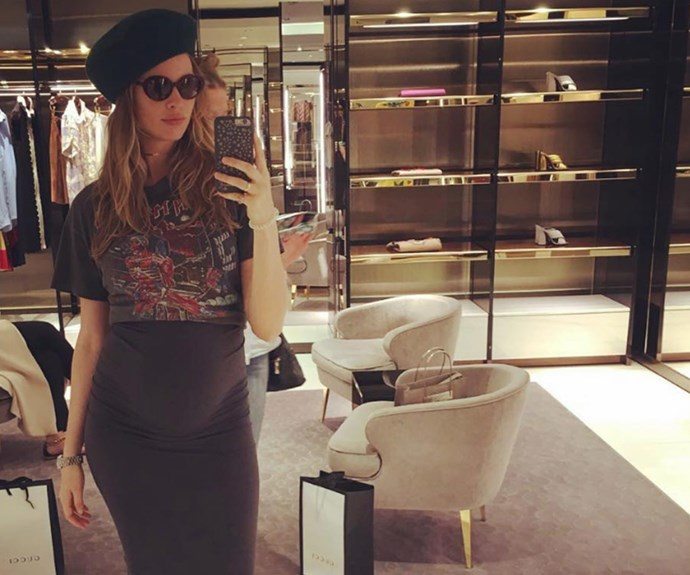 The expectant mum also stopped by the Gucci store later in the week. Baby shopping perhaps?