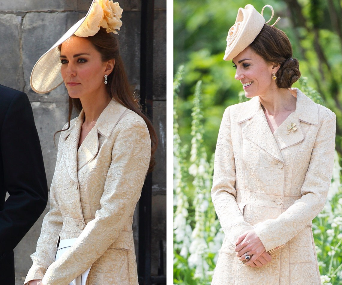 Recognise the coat that Duchess Catherine wore to Hillsborough Castle's annual garden party in Northern Ireland this week (R)? That's because she also wore it to Zara Tindall's wedding in 2011!