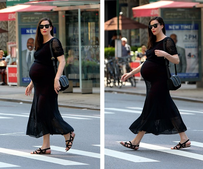 """Expectant mother-of-two, Liv Tyler, has taken to Instagram with a sweet snap poking fun at her third baby bump. """"Ohhhh my goodness look at that bump. So pointy and giant !! I can't wait to meet the beautiful little human living in there..."""""""