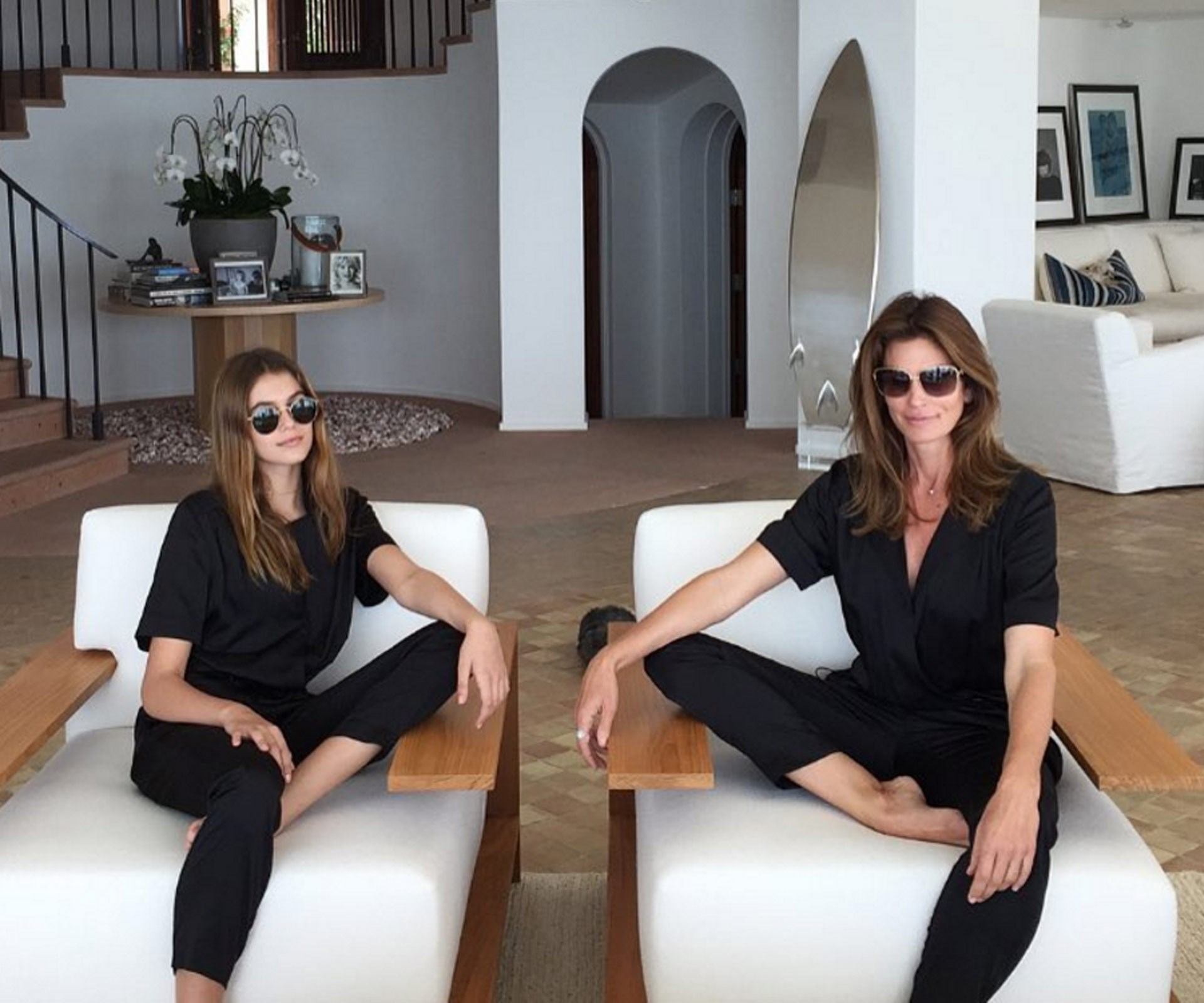 Twinning! Cindy Crawford and her look-alike daughter Kaia Gruber were relishing their Coco Rocha designed jumpsuits.