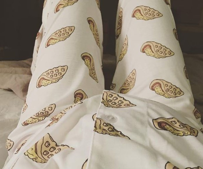 """The 32-year old, who is pregnant with her and fiancée Jason Sudekis's second child, shared this sweet snap her belly all snug as a bug in  pyjamas featuring waffles and eggs, sayin, """"Just wanna confirm real quick that this is what is meant by """"sexy lingerie""""."""