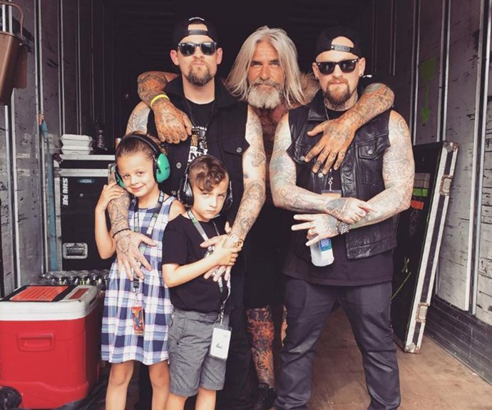 Proud dad Joel Madden shared this snap with his brother Benji, stage manager Kenny Leath and his two children daughter Harlow, eight, and son, Sparrow, six. His kids, who he shares with wife Nicole Richie, are so grown up!