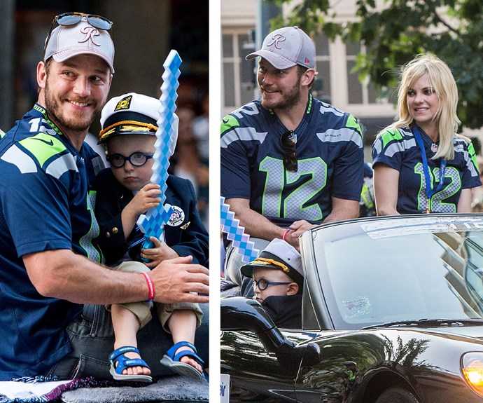 On July 30, Chris Pratt and wife Anna Faris rode in the Seafair Torchlight Parade in Seattle, Washington, but all eyes were on the pair's adorable three-year-old son Jack!