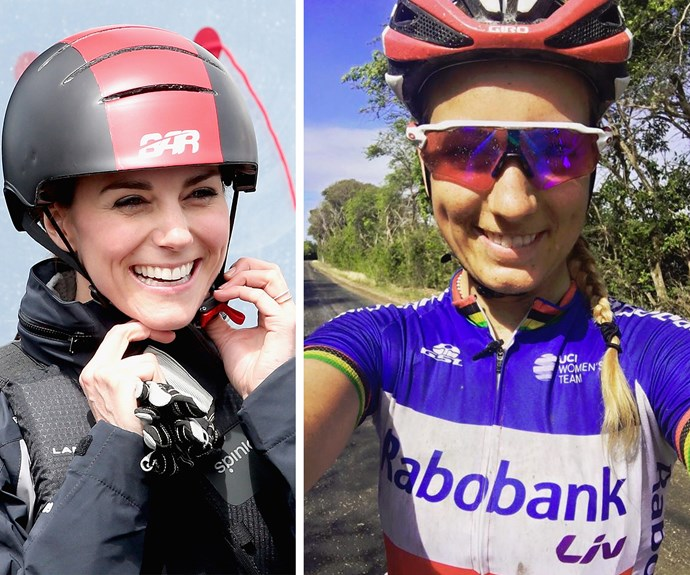 She may be 10 years younger than the royal, but fans can't help but note the similarities. Baring blonde hair, the cyclist has the same eyes, pretty smile and Catherine's signature dimples!