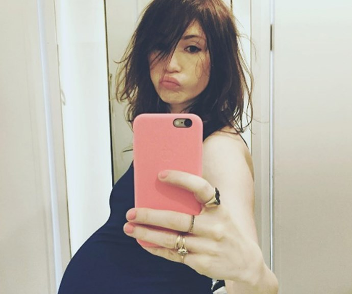 """She shared this image with the caption """"Almost don't fit in the mirror any more!"""" not long before the birth."""
