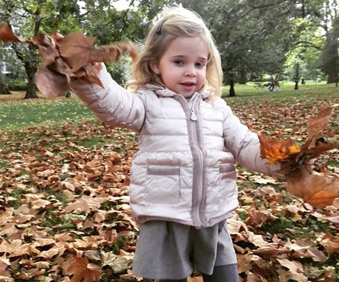 "Princess Madeleine of Sweden recently shared this gorgeous snap of her two-year-old daughter, Princess Leonore, Duchess of Gotland, playing in the autumn leaves. ""The fall is here!"" She captioned the happy snap."
