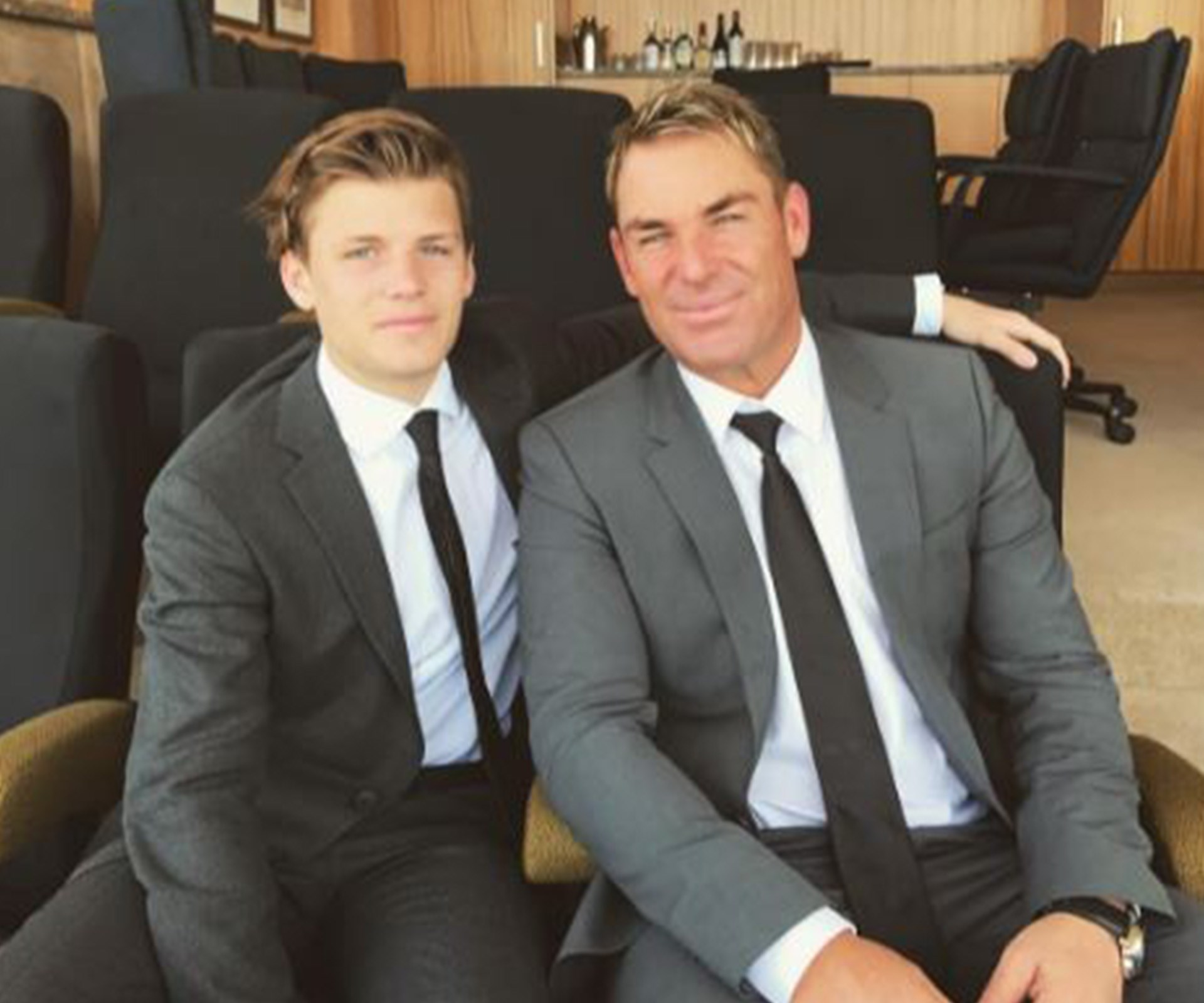 Shane Warne and his son Jackson not only look alike, but they dress alike, too!