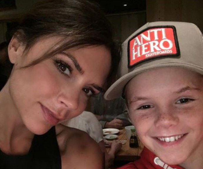 """The former Spice Girl enjoys some bonding time with her middle son Cruz, 11. """"Special time,"""" the designer mused."""