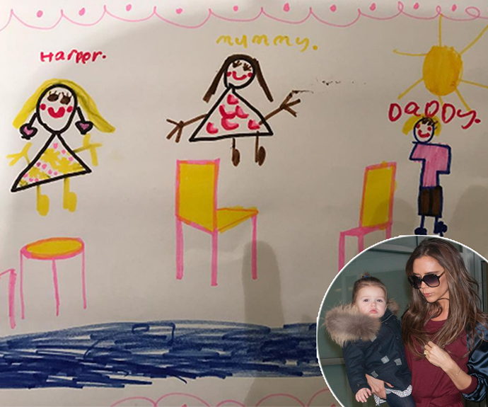 """Victoria Beckham has revealed that little Harper has her mummy's creative flair! VB shared with fans how her adorable five-year-old drew this darling family portrait with her parents, adding the caption, """"Happy Sunday X VB"""""""