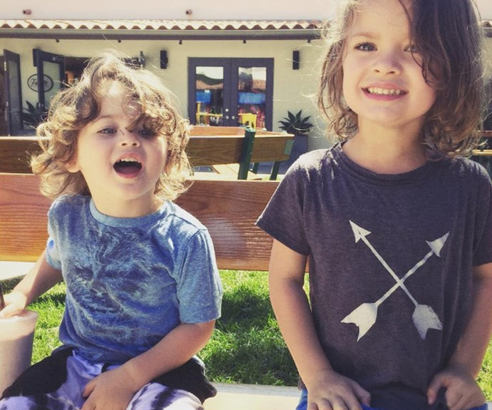 """""""I miss being young,"""" the doting dad wrote beside this too-cute-for-words snap of sons Noah, four, and Bodhi, two."""