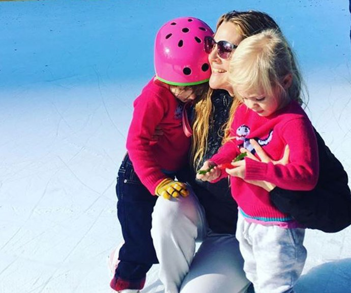 """Drew Barrymore hits the ice skating rink with her two daughters Olive, four, and Frankie, two. """"These are the loves of my life. #myolive #myfrankie,"""" the actress explained."""