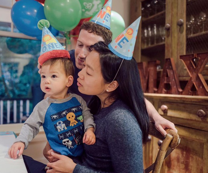 """Facebook founder Mark Zuckerberg and his pediatrician wife, Priscilla Chan, just celebrated their daughter Max's first birthday! """"I can't believe it's been a year! And she kissed me on the cheek for the first time yesterday :) Here's to many more years of happiness and health for Max and all children around the world,"""" proud dad Mark said."""