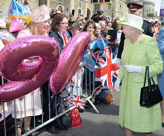 At a meet and greet with the public for her 90th birthday celebrations in 2016, the [Queen](http://www.nowtolove.com.au/royals/british-royal-family/queen-elizabeth-stuns-in-portrait-for-sapphire-jubilee-33929) wore a cheery mint green coat.