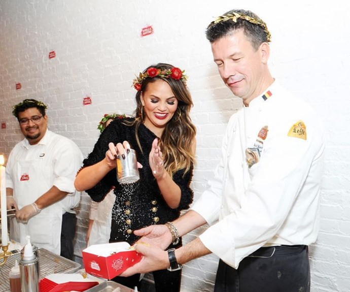 Nobody does a cheat day quite like Chrissy Teigen! The model mum knows how important it is to let your hair down during the silly season, with the icing on the cake being her holiday-hosting collaboration with beer brand Stella Artois. Bottoms' up!