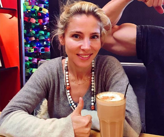 Every other day of the year, she's all about the goodness of green juices, but come Christmas time and Elsa Pataky is charging up with a super-sized, milky latte.
