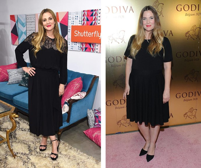 """I was 144 pounds [65.3kg] and now I'm 124 pounds [56.2kg],"" actress Drew Barrymore [said recently](http://www.womansday.com.au/style-beauty/health-body/drew-barrymore-her-diet-struggles-of-not-eating-pizza-17038