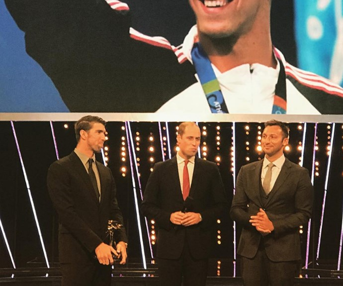 "Upon receiving the Lifetime Achievement Award from a real royal, Michael shared: ""Such an honor to have been presented the BBC #spoty Lifetime Achievement Award from The Duke of Cambridge & one of the greatest, Ian Thorpe. What an amazing way to cap off my 2016!!"""