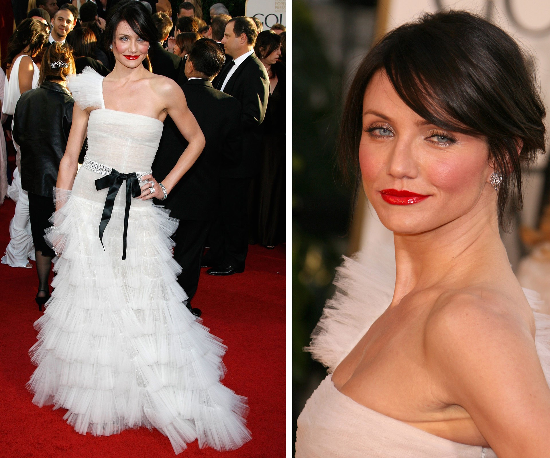 Cameron Diaz was a total knock out with this sultry look in 2007. The bold lip with the brunette hair = red carpet winner.