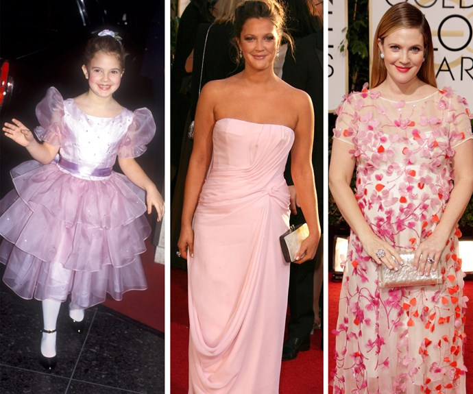 Our favourite flower child: The Golden Globes have documented Drew Barrymore's evolution from an adorable child actress to a talented adult.