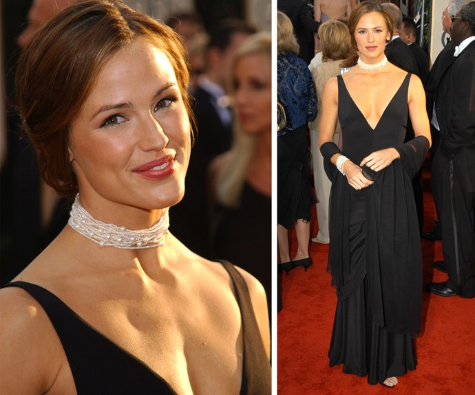 Jennifer Garner kept things classic in this plunging black gown for the 2003 event.
