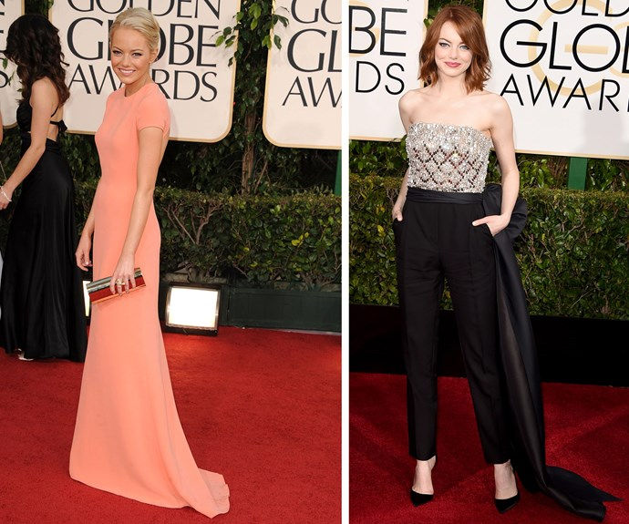 Emma Stone truly is a style chameleon. In 2011, she opted for a pink Calvin Klein dress while in 2014, she really changed it up in a daring Lanvin jumpsuit.
