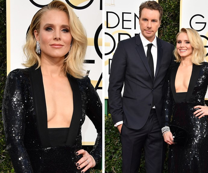 Pwoah! Kristen Bell smoulders while hubby Dax Shepard stands proud next to his lady.