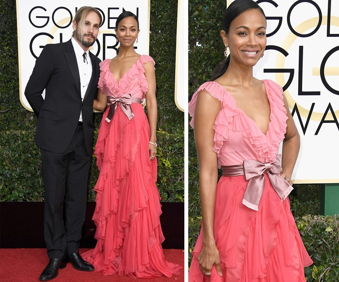 Zoe Saldana and her husband Marco Perego put on a loved-up display.