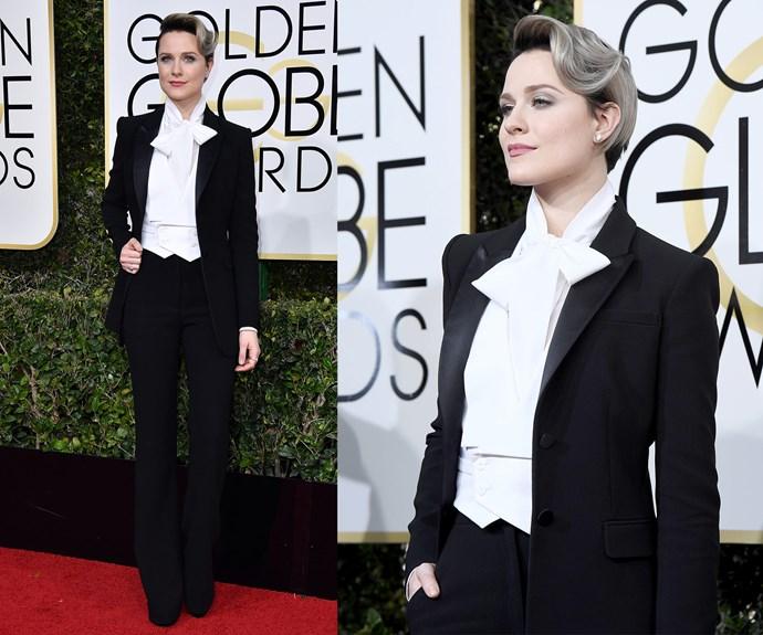 *Westworld* actress Rachel Evan Wood suits up.