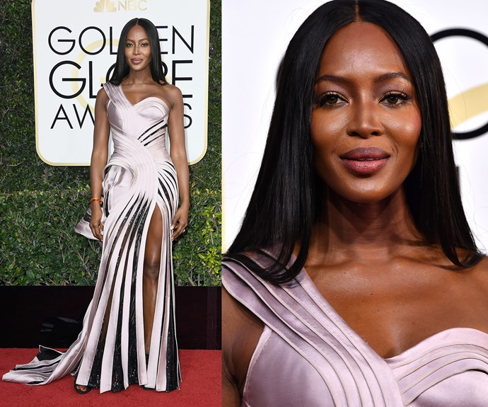 Naomi Campbell can't put a foot wrong with her metallic design.
