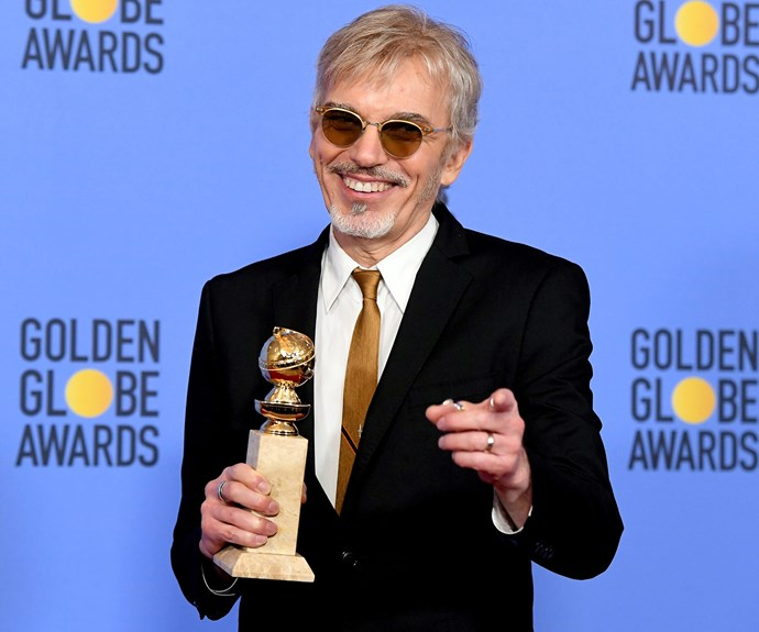 Billy Bob Thornton seems pretty chuffed over winning the award for the Best Television Series Actor - Drama in *Goliath*.