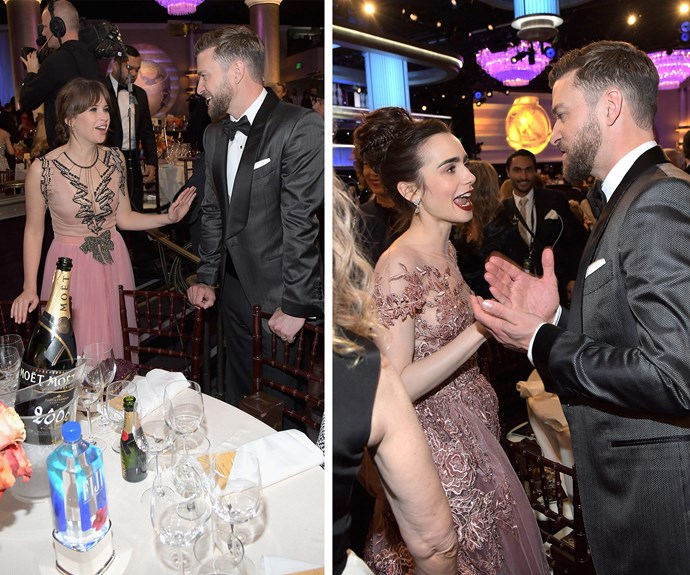 Everyone loves Justin Timberlake, who chatted to Felicity Jones [L] and Lily Collins [R].