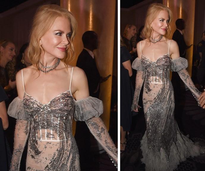 Nicole Kidman illuminates the corridors of the Golden Globes.