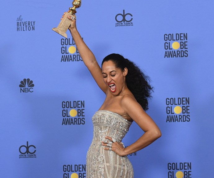 Tracee Ellis Ross wins her first Globe for her role in *Blackish*.